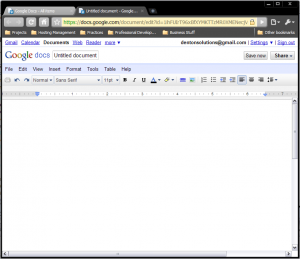 Screenshot of GoogleDocs' word processor