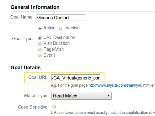 Google Analytics Goal Configuration