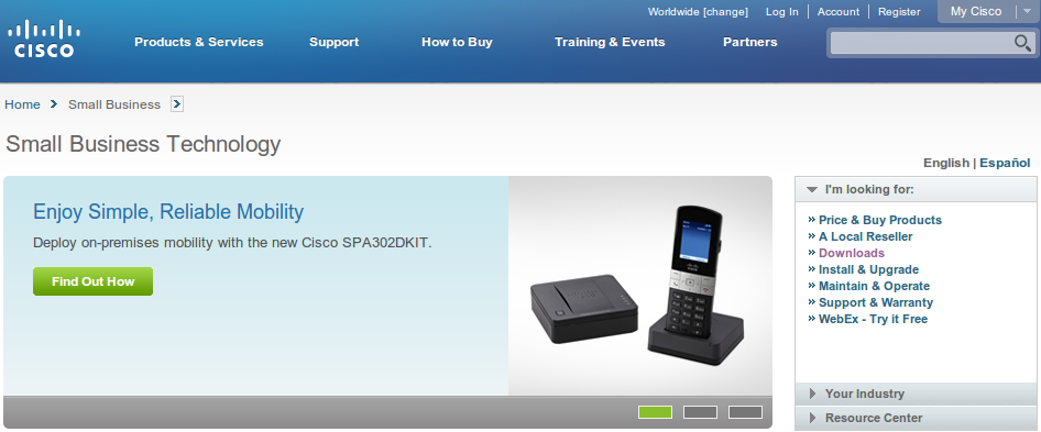 Cisco SPA302 Shown on Cisco Small Business Homepage