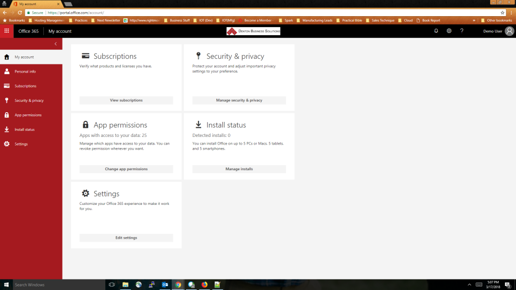 Office 365 Password Change - Step 4 - Next click Security and Privacy on the left-hand side of the page
