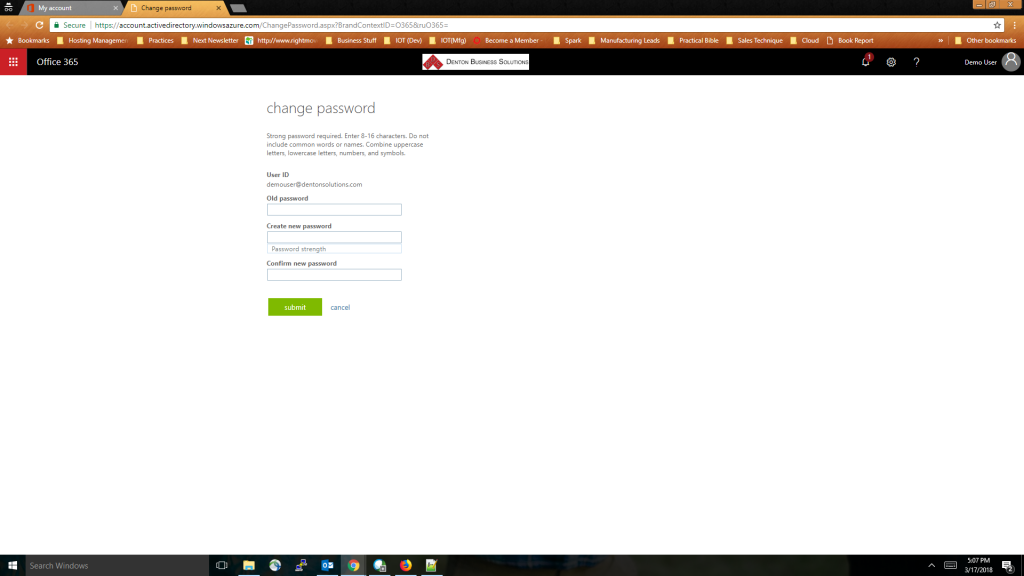 Office 365 Password Change - Step 6 - On the Change Password screen enter your current password then enter your new password twice
