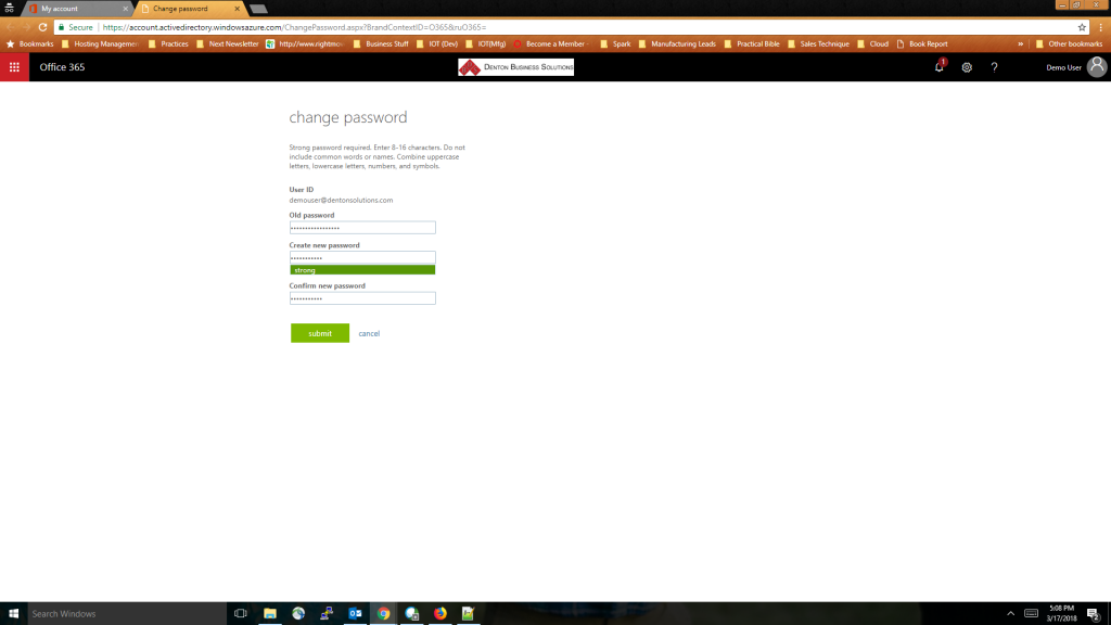 Office 365 Password Change - Step 7 - Next click Submit